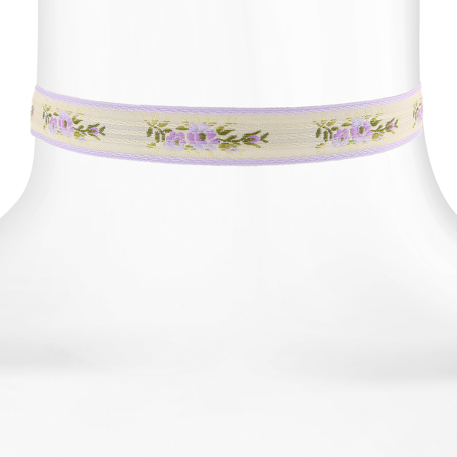 1928 Floral Ribbon Choker With Lilac Trim 12