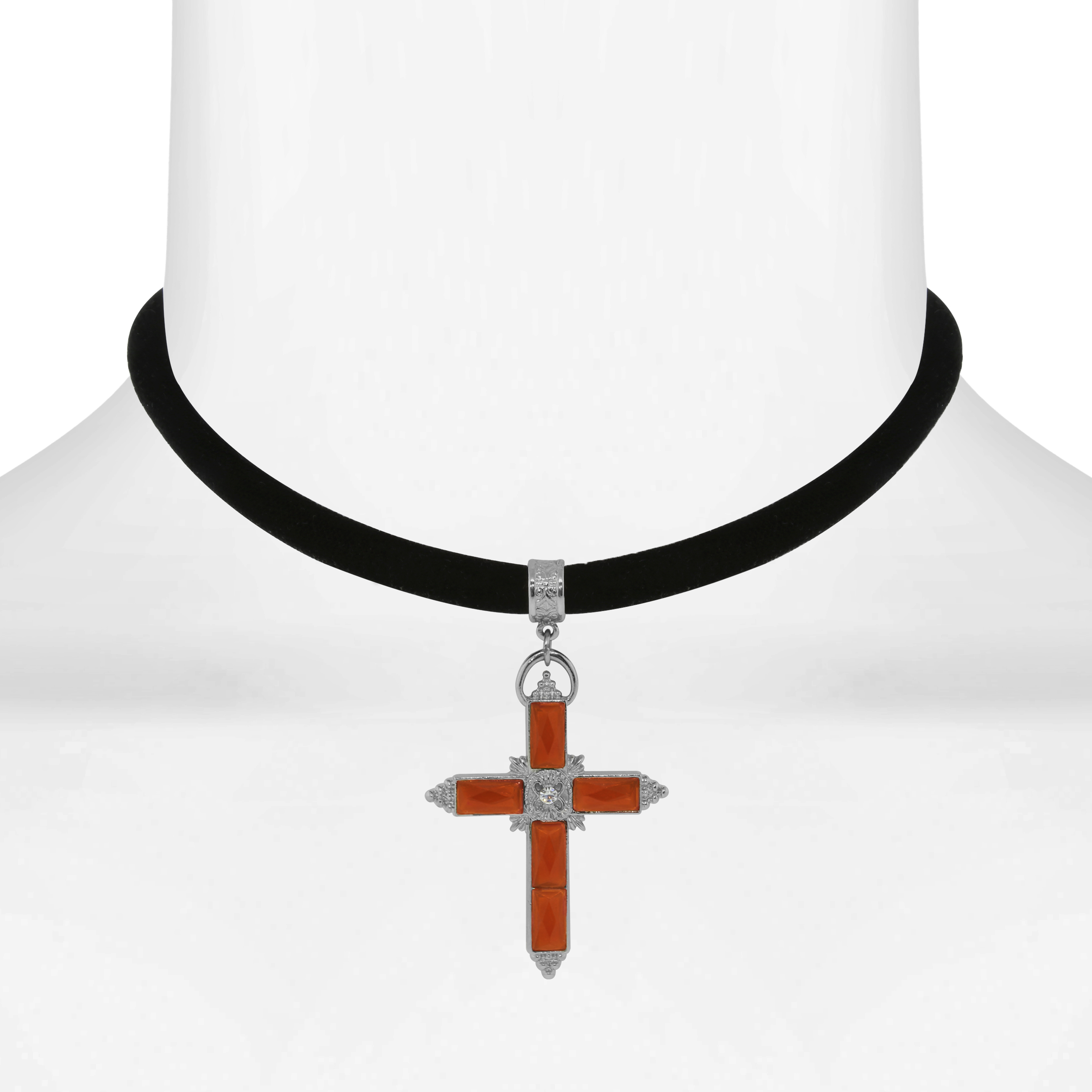 1928 Jewelry Black Velvet Choker With Color Crystal Accent Cross 12 Adj.