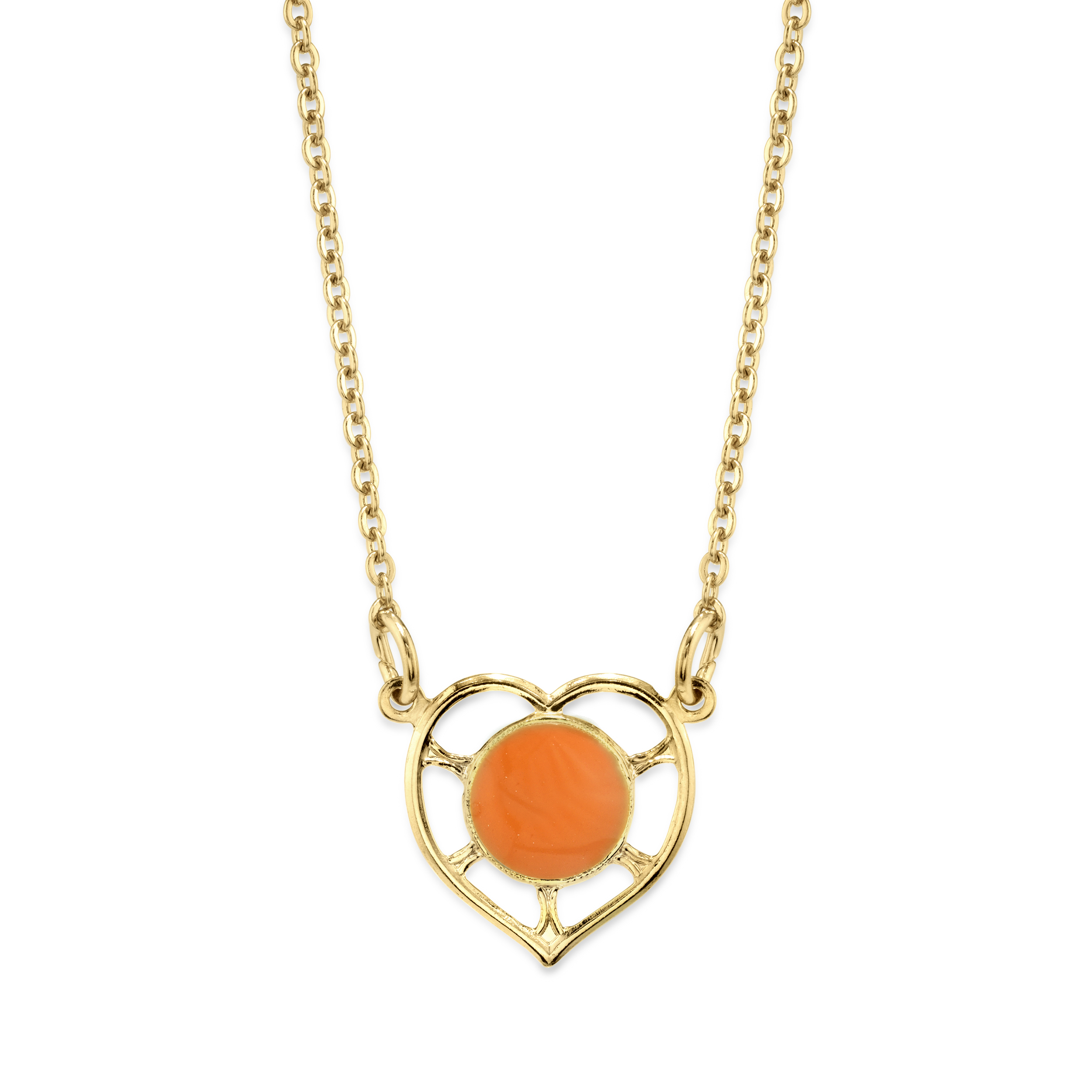 1928 Jewelry 14K Gold Dipped Heart with Small Round Circle Enamel Necklace 16